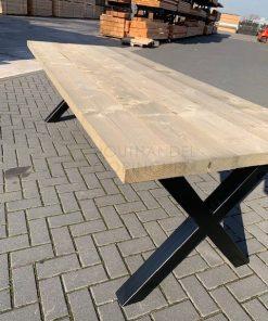 Steigerhouten tafel met zwarte X-poten 80x80mm