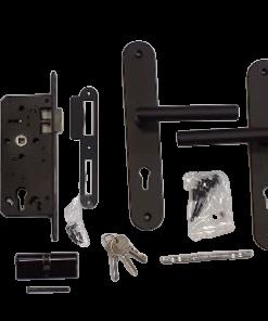 Slot Zwart RVS deurschild en deurkruk